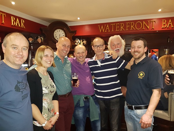 Members from the Ireland & UK diving community meeting up at the Dive Show for a chat on Saturday night. Pictured Left to right: Ivan Donoghue, Maja Stankovski, Paul Colley (Chairman BSOUP), Damien McGuirk, Stewie Andrews, Brian Stone & Shane Stanley.